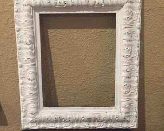 Shabby Chic Frame, Shabby Chic 8x10 Frame, Distressed White Ornate Frame, Wooden Ornate Frame, Farmhouse White Frame, Wedding Frame, Frame