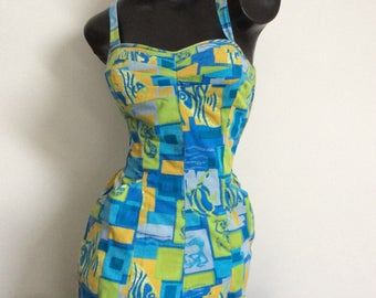 Vintage 1960's Bathing Costume Swim Suit Play Suit with Pockets