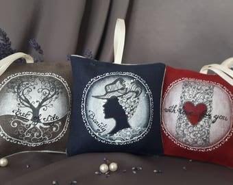 Hand painted linen sachets, lovely gift(organic dried levander inside)