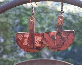 Copper half sphere earrings-