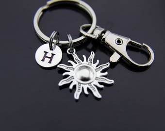 Sunburst Keychain, Sunshine Keyring, Sunshine Jewelry, Sun Keychain, Silver Sunburst Charms, Sun Jewelry, Summer Keychain, Personalized Key