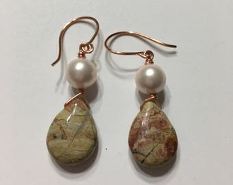 Gemstone earrings, Pearls, Jasper, Jewelry, Quartz, Ladies, Copper,  Dangle, Drop, Dangling, Yellow, Brown, Woman,