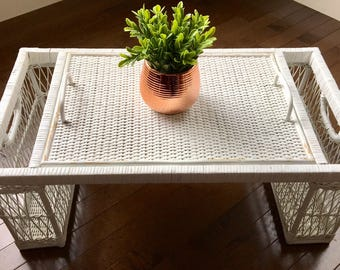 Vintage White Painted Wicker Breakfast In Bed Tray, Bohemian Home, Rattan Woven Accents.