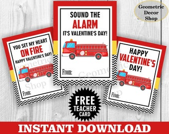 Instant Download / Fire truck / Valentine Card / Fireman Valentines Card / Valentine's Day / Dog / Red / Black / Tags teacher Kids VCard28