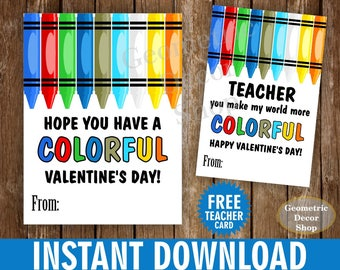 Instant Download / Colorful / Crayons / Crayon / red / blue / Boy / Girl / Valentine / Valentines / Valentine's / Tags / teacher /Card78