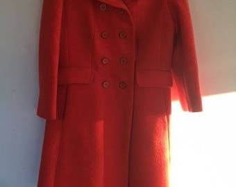 Woman's Orange Wool Coat vintage 1960s ~ Ladies Long  Double Breasted Lined, ILGWU Union Made In USA