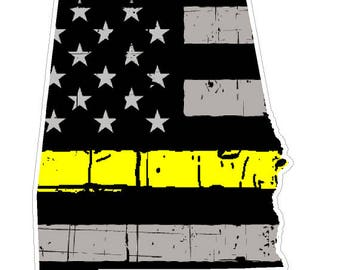 Alabama State (E3) Thin Yellow Line Dispatch Vinyl Decal Sticker Car/Truck Laptop/Netbook Window