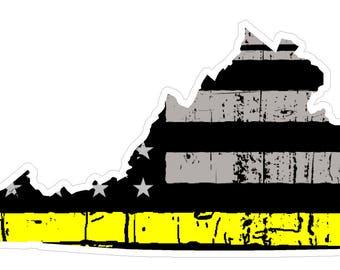 Virginia State (E46) Thin Yellow Line Dispatch Vinyl Decal Sticker Car/Truck Laptop/Netbook Window