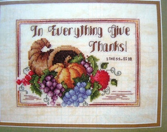 Thanksgiving Cornucopia counted cross stitch pattern from OOP Cross Stitch Magazine