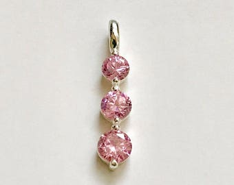Sterling Silver Classic Pink cz Three Stone Pendant
