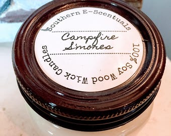Campfire Smores, Wood Wick Candle, Soy Candle, Campfire Candle, Smores Scented  Soy Candle, Gift for Her, Gift for Dad, Camping Candle
