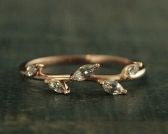 Rose Gold Ring~Diamond Band~Anniversary Ring~Vine Band~Vine Ring~Leaf Ring~Leaf Band~Rose Gold Band~Anniversary Band~Marquise Gold Ring