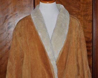 Leather Full Length Coat, Vintage Leather Coat, Gold Leather Coat, Leather Suede Coat, Vintage Suede Coat, Gold Full Length Coat