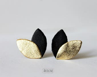 Earring studs black leather petals