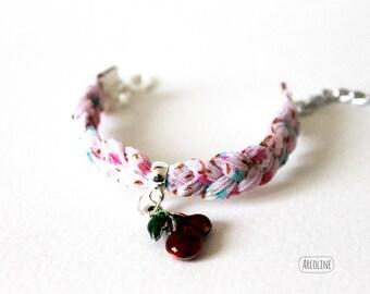 Pink kids bracelet braided fabric ° ° ° ° cherry Golden