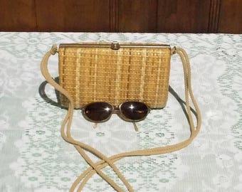 French Bamboo Purse Handbag.  Vintage Summer Rattan Clutch Bag Purse