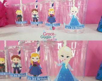 12 Personalized Snow Princess Themed  Party Cups with Lids and Straws