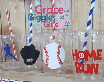 12 Baseball Party Cups w/ Lids and straws!