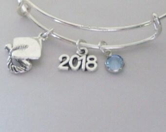 2018 Graduation Cap Charm Adjustable Bangle W/ Birthstone /  8th Grade / High School / College Grad. Bracelet  Usa  GD1
