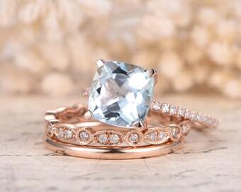 8mm Cushion Aquamarine Engagement Ring Set Solid 14k Rose Gold Diamond Band Plain Band 3pcs Bridal Ring Set Wedding March Birthstone Ring