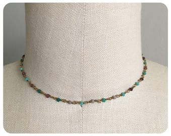Multi Colored Beaded Chain Choker