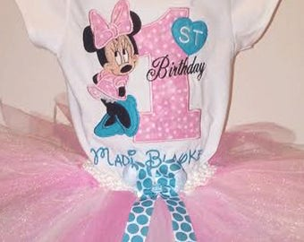 Pink and Turquoise Minnie Mouse 1st Birthday Outfit Pink Minnie Mouse Shirt Minnie Mouse 1st Birthday Outfit Pink Minnie Mouse Shirt