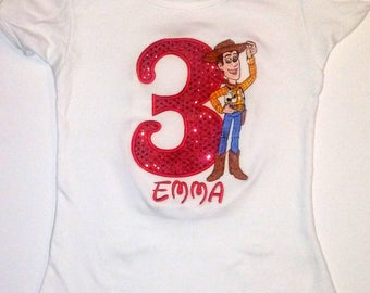 Red Glitter Woody Toy Story 3rd Birthday Shirt Personalized