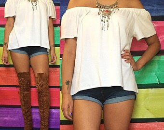 SALE | X-Large - White | Off the Shoulder Tee
