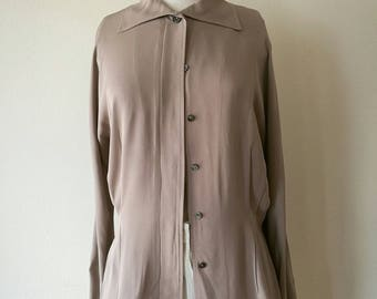 Vintage Ralph Lauren purple label silk french cuffs blouse beige