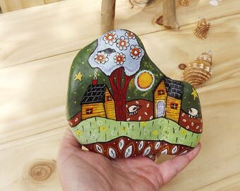 Painted rock unique home and garden decoration original gift for Christmas or birthday, made in Australia,  paperweight, door stop, desk art