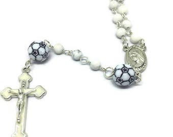 Soccer Rosary, Sports Rosary, Crucifix Cross Pendant, Silver Rosary, First Communion, Silver Cross Necklace, Silver Rosary Necklace