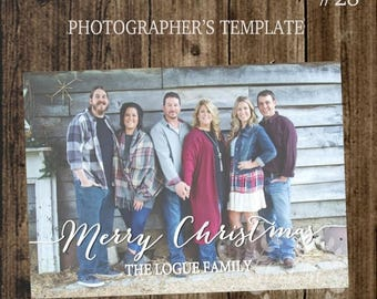 50% OFF PHOTOGRAPHER TEMPLATE Christmas Card, Client Christmas Card, Simple Photoshop Template Christmas Card, Design #28