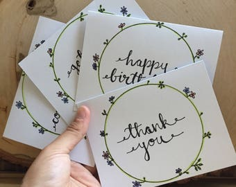 Pack of Floral Greeting Cards | Birthday, Symphathy, Congrats, Thanks Card Set | Set of Four All Occasion Floral Greeting Cards