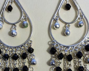 Silver and Black Beautiful Earrings