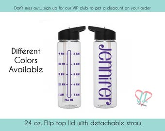 Night Shift Water Bottle with Times - Water Bottle - Personalized - 3rd shift Water Bottle - Different Times Available - Water Reminder