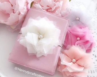 Beautiful Fabric Flower Planner clip / charm - Planner accessories | planner goodies | traveler's notebook flower clip charm