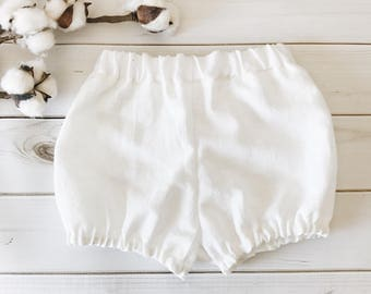 Baby Bloomers - White Linen; Baby Bummies, Toddler Shorts, Baby Shorts, Summer Clothes, Boho Baby, Linen Bloomers, Unisex, Newborn