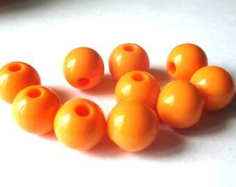 5 12mm orange acrylic beads