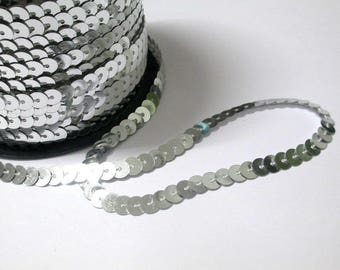 3 m tape 6mm silver sequin trim