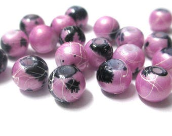 20 light pink shiny speckled and beads, 8mm