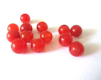 10 Red 8mm natural jade beads