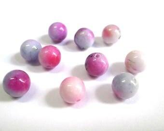 10 beads natural pink green purple jade 8mm (7)