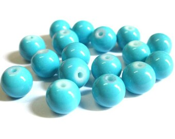 10 blue beads painted sky glass 8mm (R-61)