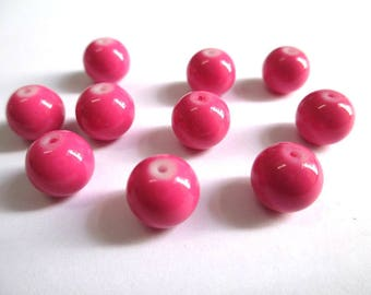 10 pearls pink painted glass 10mm (T)