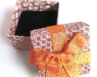 1 box gift box for rings bow 35mm orange red color