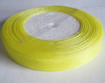 1 organza Ribbon Spool yellow 12mm to 45 meters