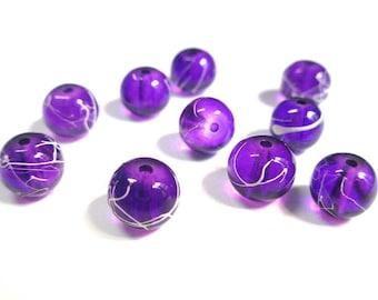 10 purple, white translucent 8mm beads (1)