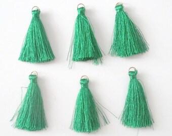 6 green PomPoms cotton 4.5 cm