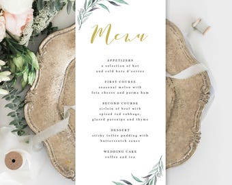 Wedding Menu Template - Printable Garden Greenery Wedding Menu Template - Rustic Wedding Menu Template - Editable Wedding Menu - Chelsea