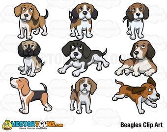 Beagles Clip Art, Digital Clipart, Digital Graphics